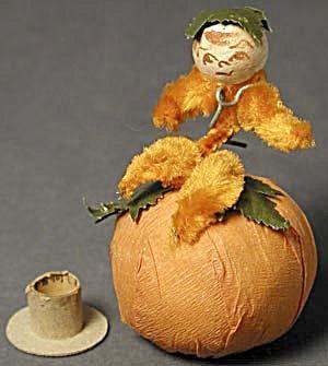 Vintage Pumpkin Vine Boy Halloween Candy Container (Image1)