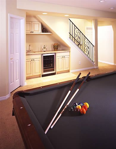Great idea for under the stairs bar