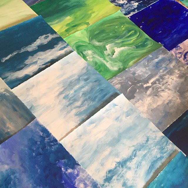 Painted paper for collage. #creative #art #wave #ocean #collage #paperart