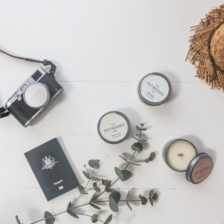 HUTWOODS TRAVEL TINS.   Our lightweight, portable and durable travel tins are the perfect addition for a trip away. Made with 100% natural soy wax and each featuring our signature wooden wicks, they offer a burn time of 25+ hours. They are available in our 10 diverse fragrances to suit every taste.
