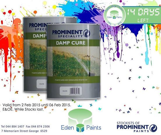 14 days left of our 21st birthday countdown and we have great deals! Like ‪#‎Prominent‬ damp cure for only R 290,00. Offer valid from the 2nd - 6th of Feb, while stocks last, E&OE. Don't miss out! ‪#‎EdenPaints‬ ‪#‎21birthdaypromo‬