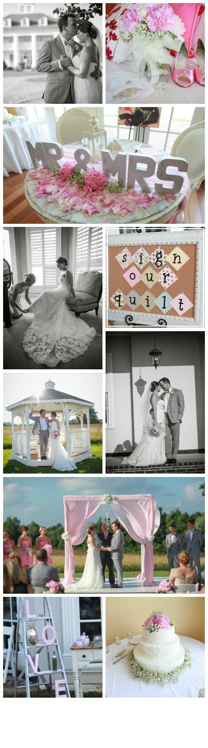 Country Plantation House Wedding   romantic pink wedding   peony & baby's breath bouquet   quilt guest book   lace wedding dress   classic decorations   wedding ceremony altar   wedding cake   photography by Cassie Peech & Co.