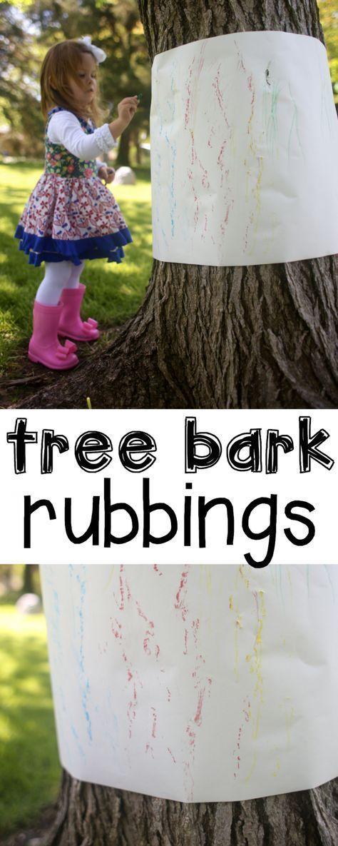 Outdoor Tree Bark Rubbings - I Can Teach My Child! #homeschoolingfortoddlerslessonplans