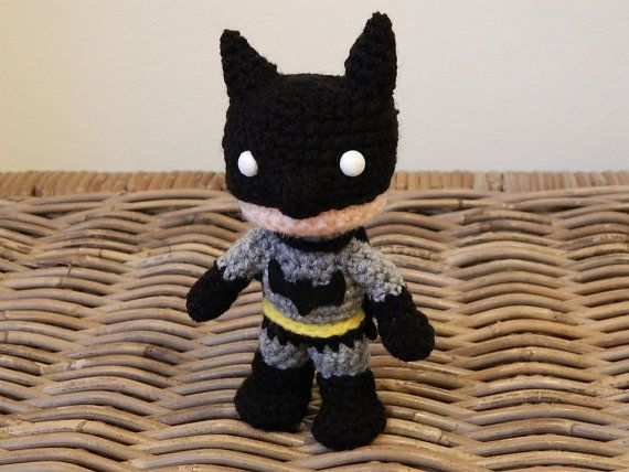 Batman crochet amigurumi chibi plush doll DC movie video game comic superhero super hero plushie Bat Man