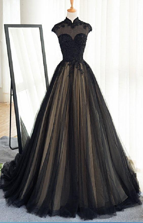 Charming Prom Dress,A-Line Prom Dress,Tulle Prom Dress,Appliques Prom Dress
