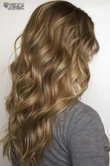 LOVE THE COLOR!!! I shall try on Kieleys hair.  perfect beach waves for the wedding. Hair and Make-up by Steph: How To: Soft Flat Iron Curls.  #lovepost