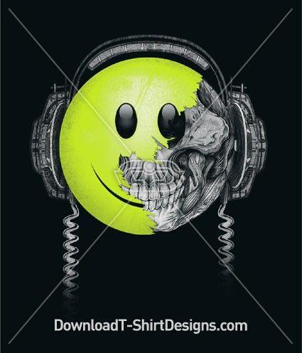 Happy Face Headphones - Mens T-Shirt Designs