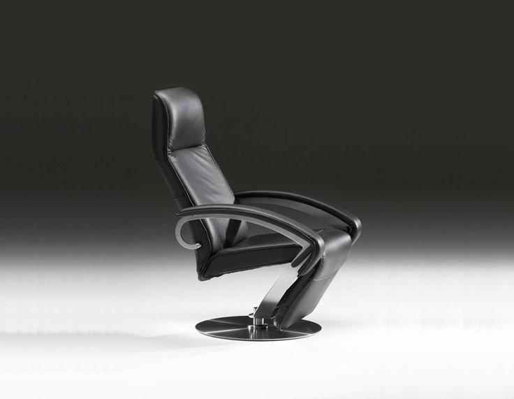 Black leather recliner, with built-in body balance system, designed by Danish furniture designer Steen Ostergaard, available at Trends-bolig.dk, produced by Nielaus.dk