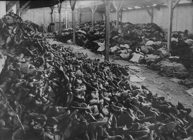 A warehouse full of shoes and clothing confiscated from the prisoners and deportees gassed upon their arrival. The Germans shipped these goods to Germany.
