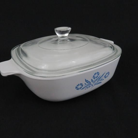 Corning Blue Cornflower 1 12 Quart Casserole Loaf Pan with Lid Christmas Gift