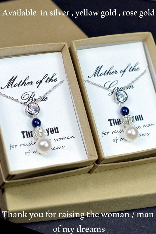2 SETS : Two Mother of the bride and groom gifts, cz pearl white blue necklaces, mother of the groom gift, Mother's jewelry, mother in law