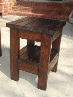 Make own table; great website!  Plans for coffee table too!  Patio furniture on the cheap?  2x4x8 ft. lumber is $4 ea. @ Lowe's = $20 total for lumber for this table + stain, poly, screws, circular saw...hrrm.  Would the top be flat enough for stuff to not fall over when placed on top?