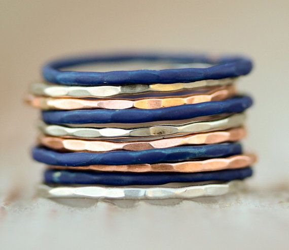 Stacking Rings / Stacking Ring Set / Patina Rings / by amywaltz, $91.00