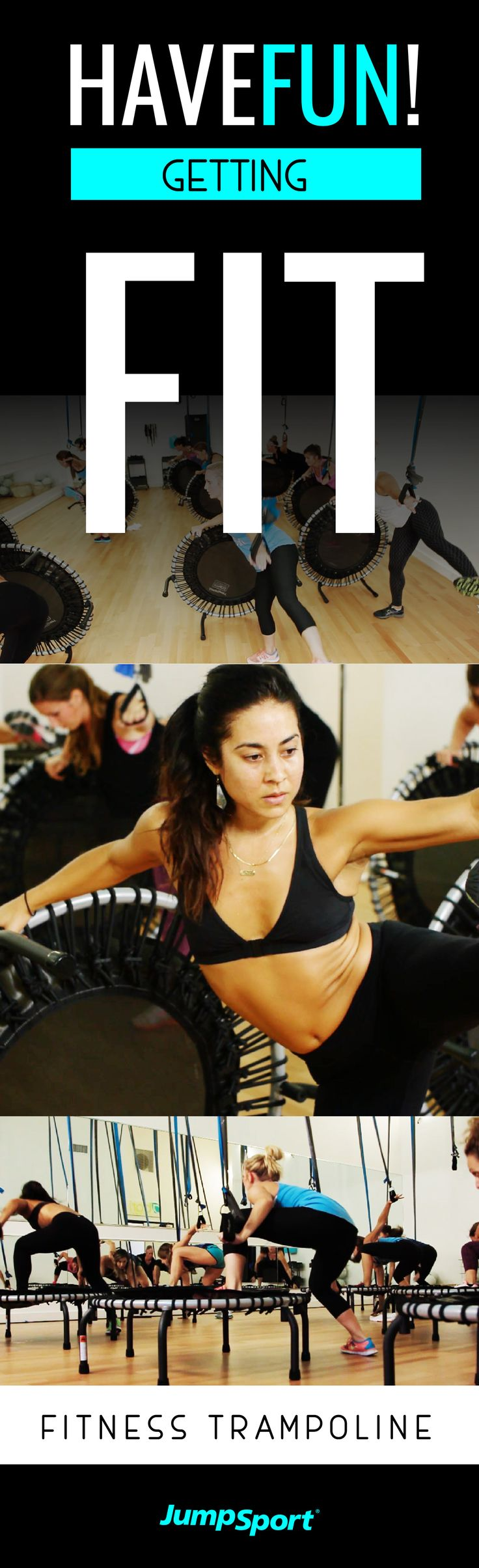 Visit http://www.jumpsport.com/Fitness-Trampoline-Model-350 to see how you can have fun getting fit the safe way! JumpSport Fitness Trampolines are the leading brand for safety, quality, and fail safe guarantee. This low impact workout is perfect for anyone who wants a good burn. Who thought working out could be such a blast and good for you?!