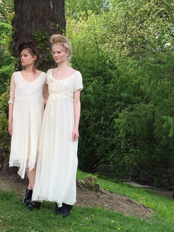 Vintage-style silk chiffon wedding dresses