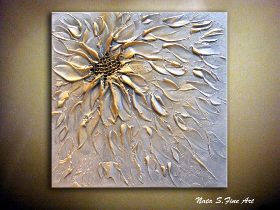 "Original Abstract Metallic Flower Painting.Palette Knife.Modern Textured Silver,Gold Painting.12"" x 12"" Modern Wall Decor.... by  Nata S."