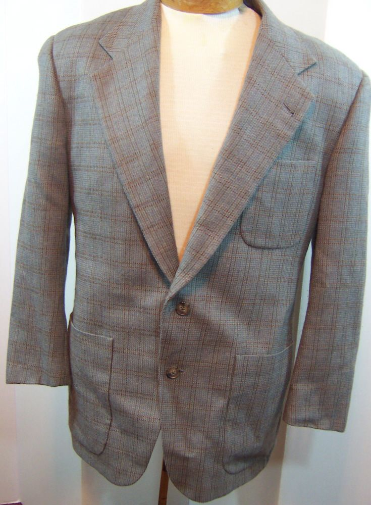 JOSEPH ABBOUD Gray Brown Silk & Wool Windowpane Plaid Mens