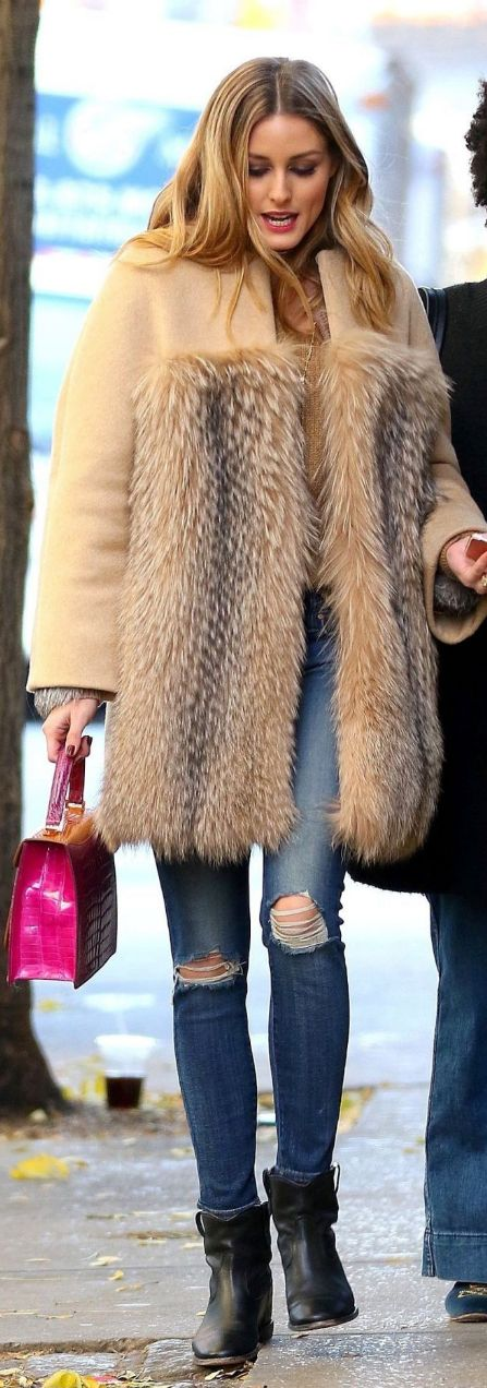 Who made  Olivia Palermo's tan coat, blue ripped skinny jeans, pink handbag, and black ankle boots?