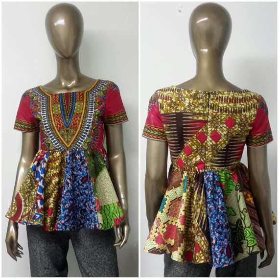This is a partially lined Empire Waist Top INCLUDED: • One Top  Model is wearing size 8  DETAILS: • Multi Colored African Wax Print.  Care