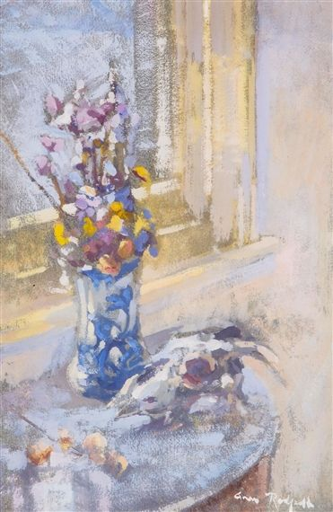 Anne Redpath, Still Life with Vase of Flowers and Animal Skull