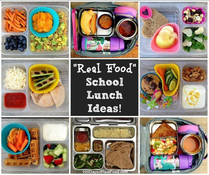 """""""Real Food"""" School Lunch Ideas! - 100 Days of Real Food.  Will need this for when S starts daycare again"""