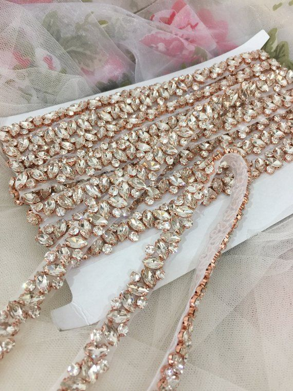 Rose Gold Thin rhinestone and crystal beaded lace trim