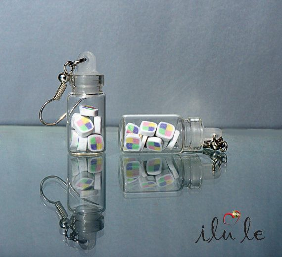 Ear candy jars | gum earrings | earrings candy jar | miniature polymer clay | suspension jar with sweets | candy earrings
