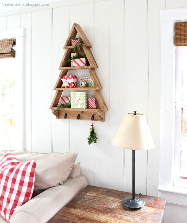 DIY Tree Shaped Shelf. Free Plans To Build A Tree Shelf With Hooks. Amazing Pictures