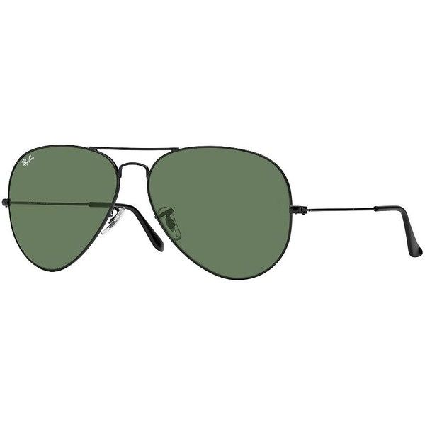 Ray-Ban Men's RB302662 Large Aviator Sunglasses ($150) ❤ liked on Polyvore featuring men's fashion, men's accessories, men's eyewear, men's sunglasses, gold green, ray ban mens sunglasses, mens eyewear, mens aviator sunglasses and mens sunglasses