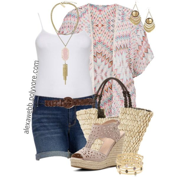 Plus Size Fashion - Summer Kimono by alexawebb on Polyvore featuring Old Navy, GC Shoes, Sun N' Sand, Kendra Scott, ASOS, outfit, plussize, plussizefashion and alexawebb