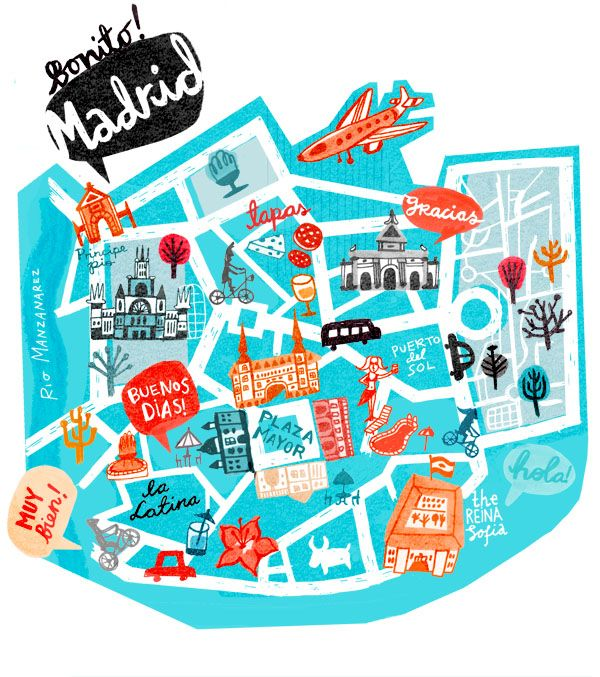 Madrid Map, Spain, illustrated map, travel guide madrid.