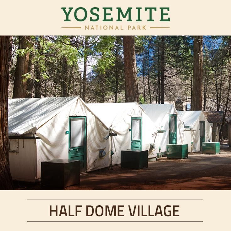 Since 1899, Half Dome Village has been welcoming travelers to Yosemite National Park. The tented camp village offers spectacular views of Glacier Point and Half Dome.