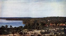 TWA-0046060 © WestPix Western Mail colour - Pic taken from a direct natural colour photograph. Supplement to 'The Western Mail', July 22, 1937. Bicton and Beyond - Overlooking Bicton and the Swan River from East Fremantle, with Blackwall Reach on the left centre. Perth is in the centre distance, with Dalkeith and Claremont on the left. A picture from a greater height would show A
