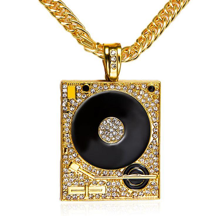 DJ Phonograph Big Pendant Necklace Men Jewelry Hiphop Chain Gold Silver Plated Music Hip Hop Rock Rap Necklaces Mens Jewellery