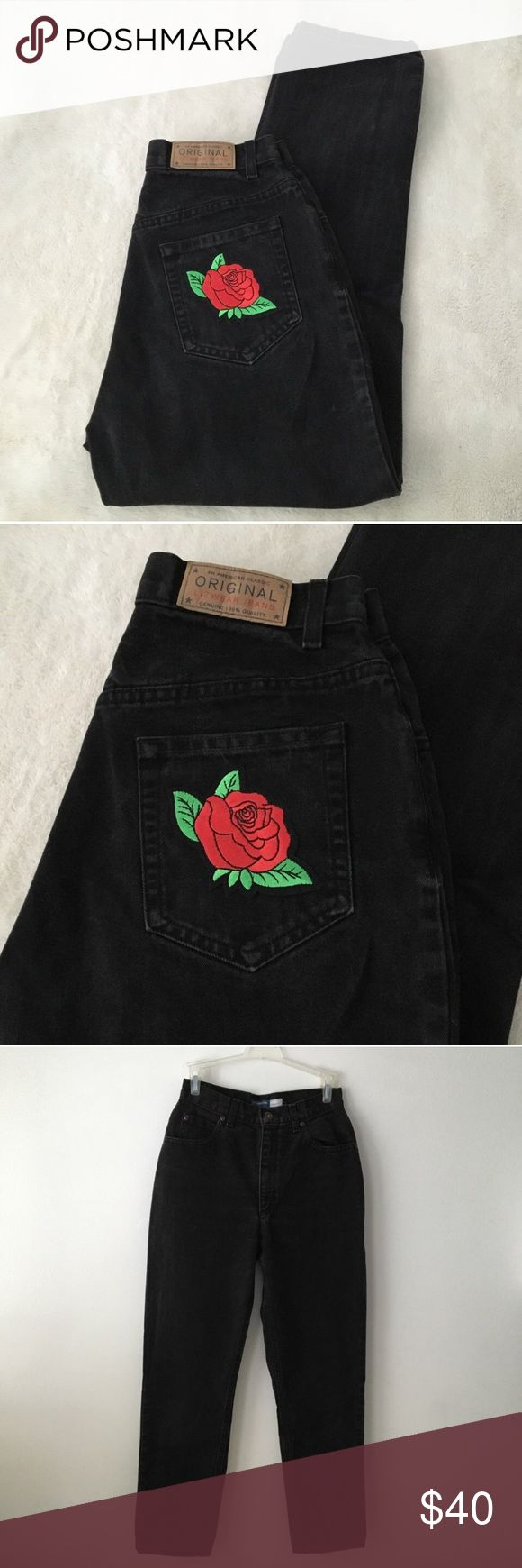 Red rose vintage mom jeans black sz 26 tumblr Red rose mom jeans ❤️ vintage Lizwear denim with a perfect high waist fit, tapered leg, with a rose patch on the back pocket. Excellent condition too. No try-on photos (doesn't fit me) but here are the measurements: Waist- 26 in., Hips- 37 in., Rise- 11 in. #red #rose #patch #mom #jeans #vintage Lizwear Jeans Ankle & Cropped