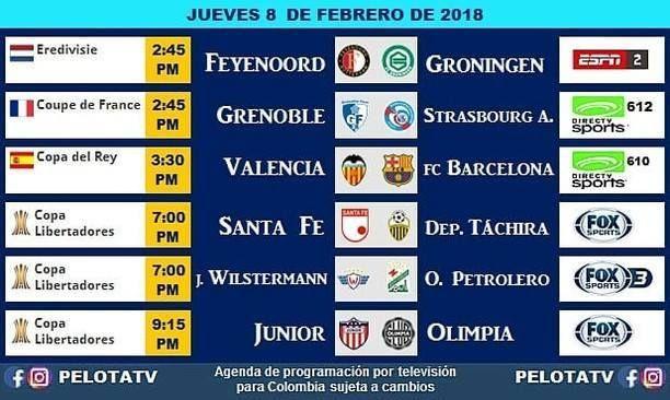 Agenda Futbolera #Televisión #EnVivo #Colombia #Partidos #Futbol #LigaAguila #futbolcolombiano #futbolcolombia #cervezaaguila #barcelonafc #juniorfc #santafe #copalibertadores via : @pelotatv