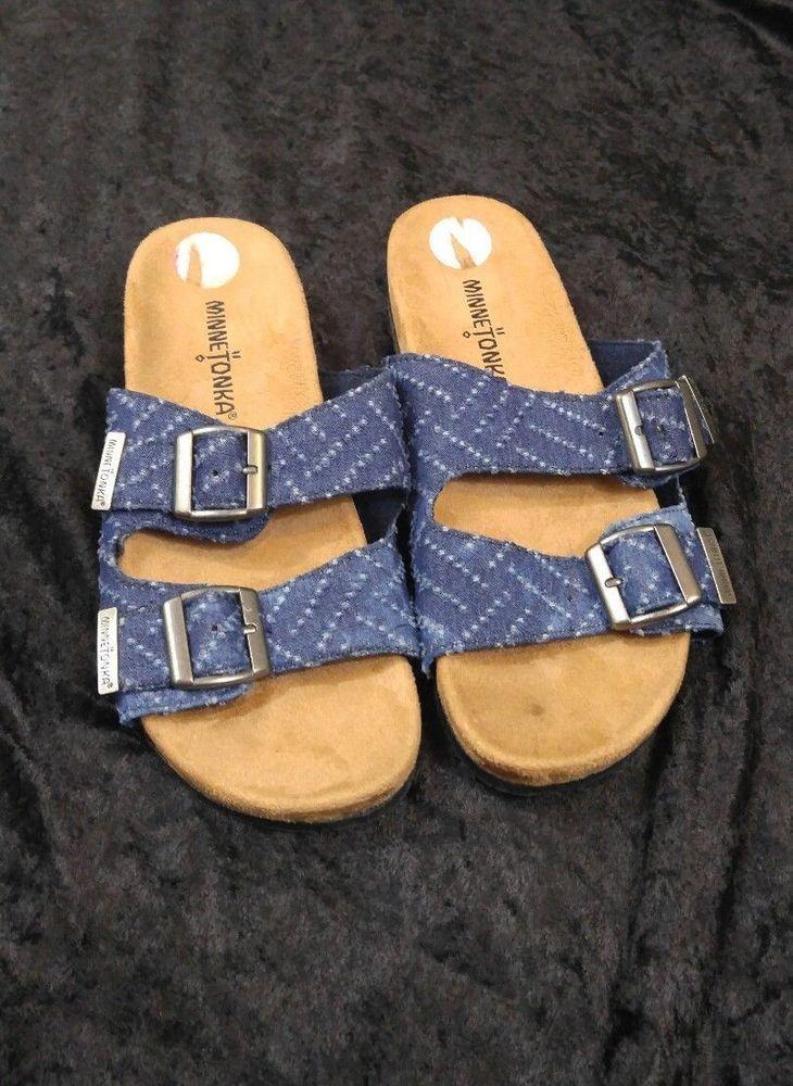 ee45fa693 MINNETONKA Women s Denim Blue 2 strap sandals - Size 6 M
