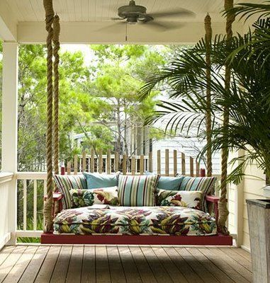 I'm crazy about porch swings!!: Front Porches Swings, Idea, Porch Swings, Southern Porches, Beds Swings, Back Porches, Places, Ropes, Swings Beds