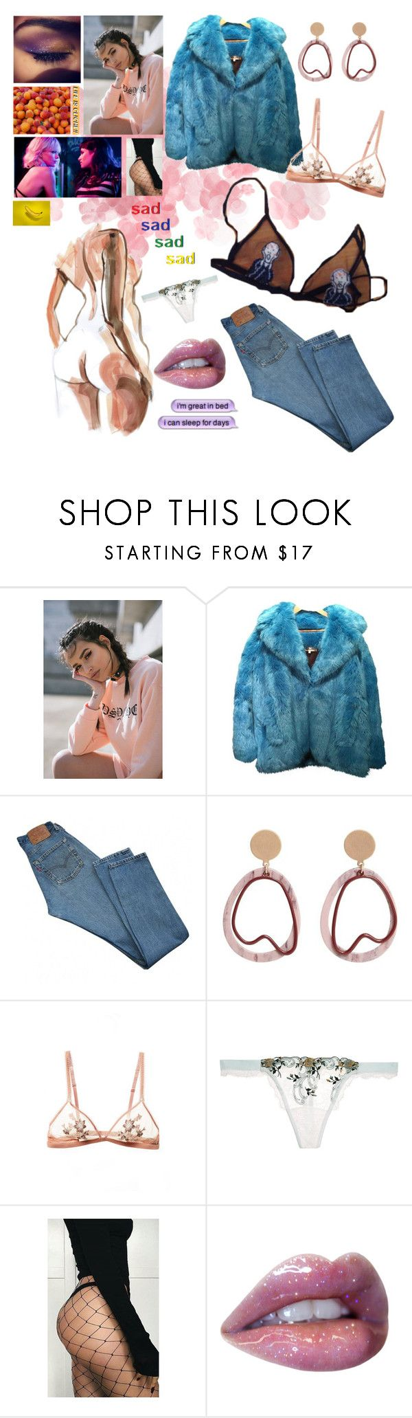 """""""Bitter fück-joji-in tongues"""" by yellowx ❤ liked on Polyvore featuring Diane Von Furstenberg, Levi's, MANGO, La Perla and Cats Got the Cream"""