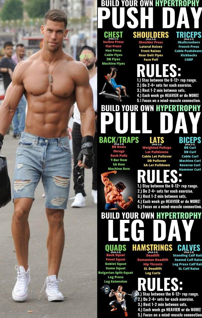 Push / Pull / Legs strength training workout plan for 7 days