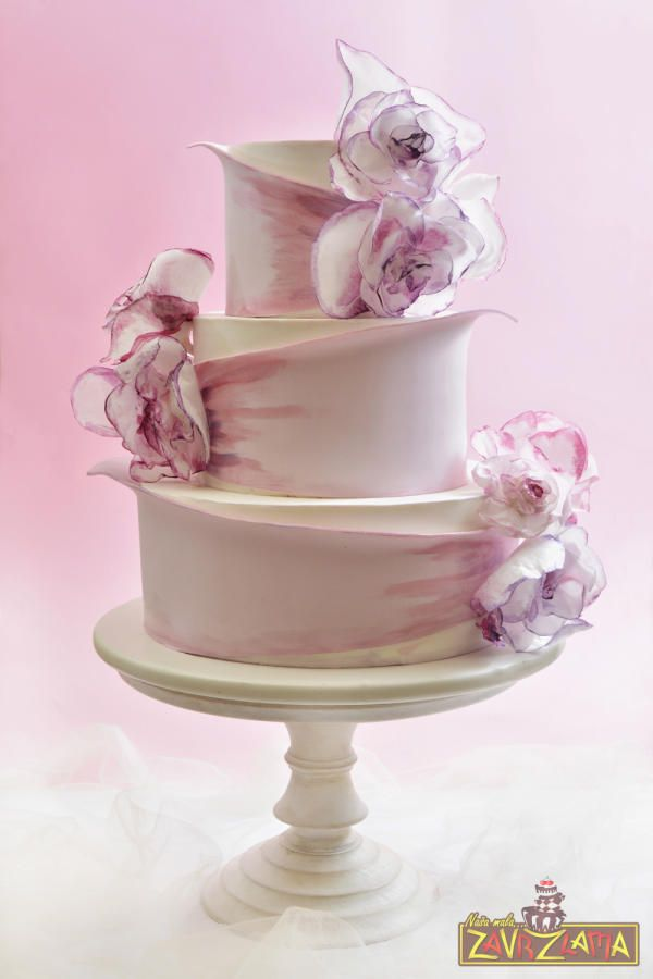 Lilac Wedding Cake by Nasa Mala Zavrzlama - http://cakesdecor.com/cakes/245358-lilac-wedding-cake