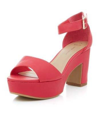 Wide Fit Neon Pink Chunky Ankle Strap Heels