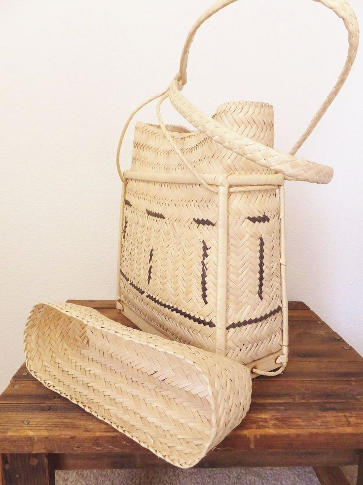 Vintage Asian Folk Basket Backpack Bag Thai Backpack Picnic Basket Boho Beach…