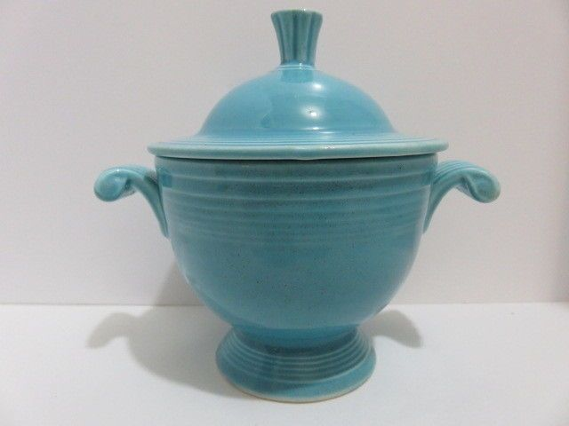 Vintage Turquoise Fiesta Ware Covered Sugar Bowl Signed Fiesta H L C USA #Fiesta