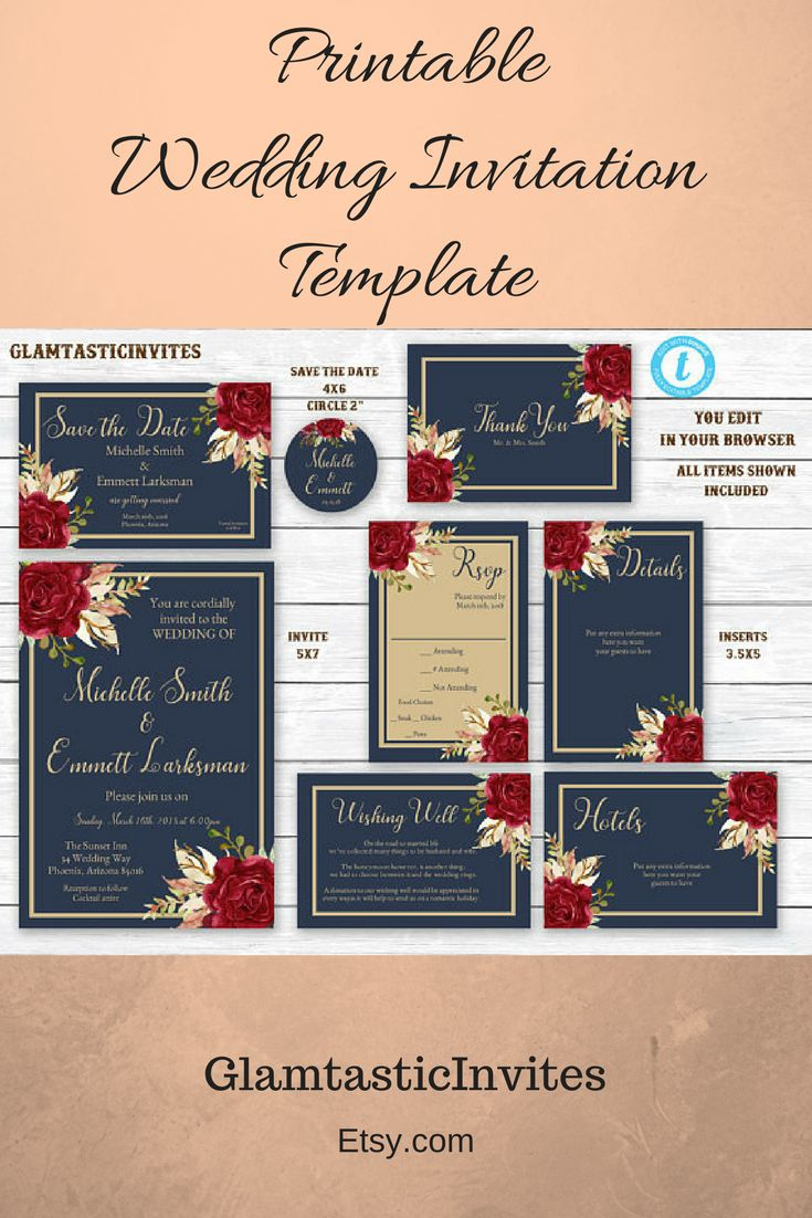 Printable Wedding Invitation Template.  Editable. Marsala Navy Blue Gold Wedding Invitation Template, Blue and Gold Wedding Invitation Template, Editable, Wedding invitation Suite, Formal #ad