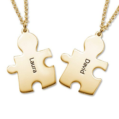 Gold Plated Personalised Couple's Puzzle Necklace | MyNameNecklace