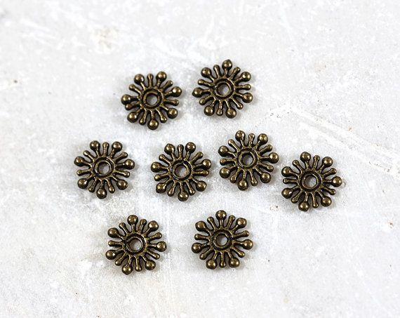 1753_Bronze beads 10 mm, Snowflake beads, Spacer beads, Metal beads for jewelry, Bronze spacer beads, Metal beads, Pattern beads_100 pcs.