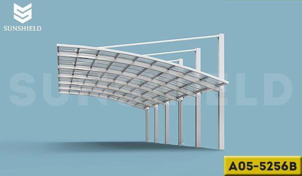 A05 5256b Sliver Semi Permanent Alu Carport For Shopping Mall Multi Cars Sheds With Pc Cover Car Shed Aluminum Patio Covers Pergola Carport