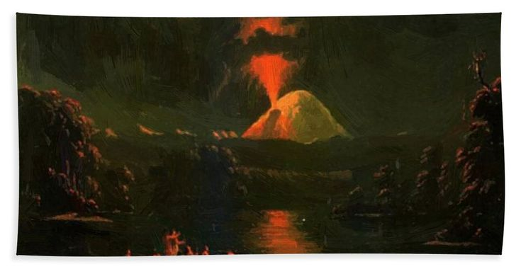 Mount Beach Towel featuring the painting Mount St Helens Erupting At Night by Kane Paul