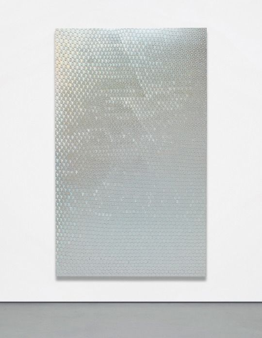 OLIVER LARIC - Discobolus Guilloche, 2012. Tamper evident security hologram stickers on pet (polyethylene terephthalate) sheet, airbrushed clear coating, 80 7/10 × 49 1/5 in